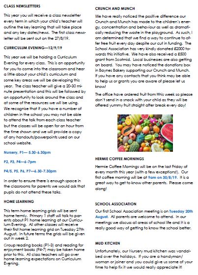School Newsletter – Hermitage Park Primary