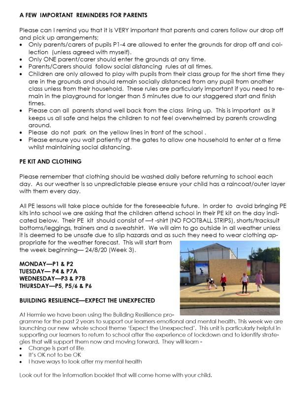HP weekly update 17.8.20 page 2